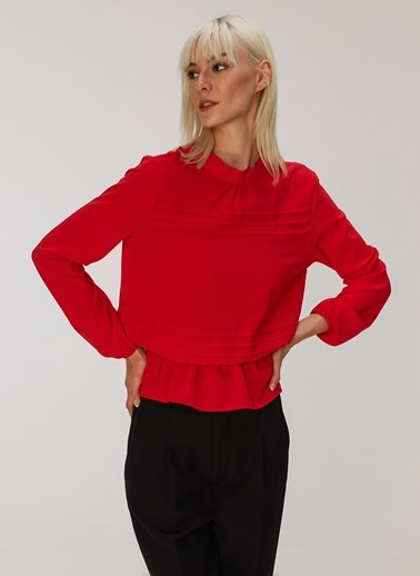 People By Fabrika Nervürlü Bluz Kırmızı